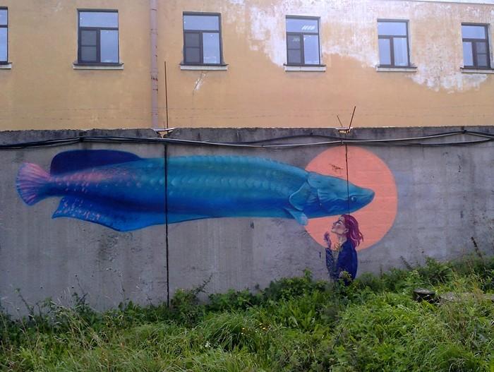 Граффити (так же как и стрит-арт) должны украшать стены, а не уродовать их #98 Уличная живопись, Граффити, Стрит-Арт, Санкт-Петербург, Рыба