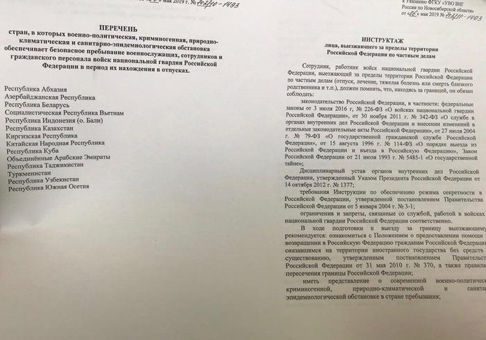 Росгвардия составила список стран для «безопасного» отпуска своих сотрудников