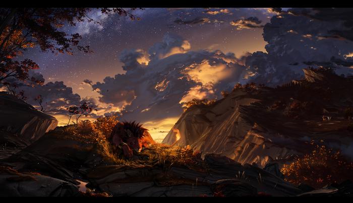 Autumn Nights Арт, Осень, Final Fantasy, Whiteraven90, Пейзаж