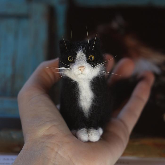 Котики Сухое валяние, Кот, Миниатюра, Длиннопост