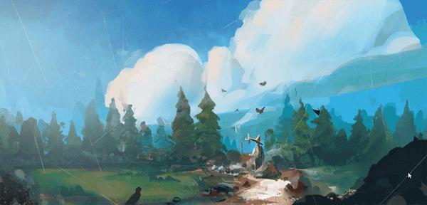 Процесс CG художника. Арт, Процесс, Пейзаж, Цифровой рисунок, Гифка, Длиннопост, Рисунок, Этапы