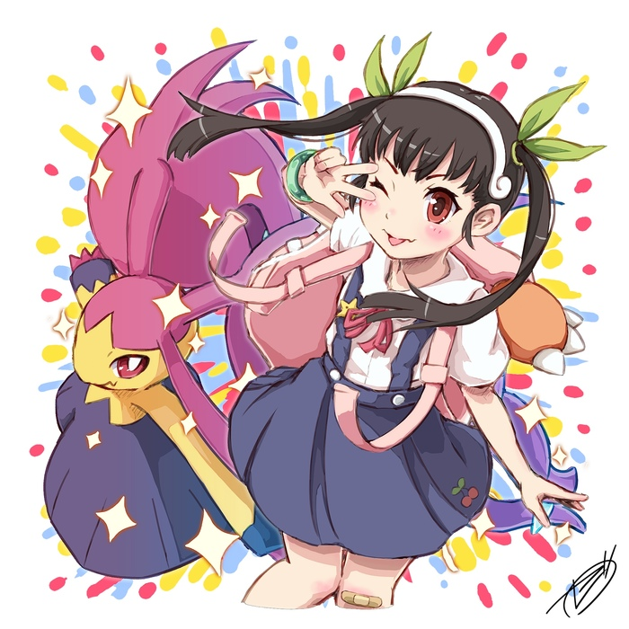Покемон нас в бой зовёт) Hachikuji Mayoi, Crossover, Pokemon GO, Monogatari series, Anime Art