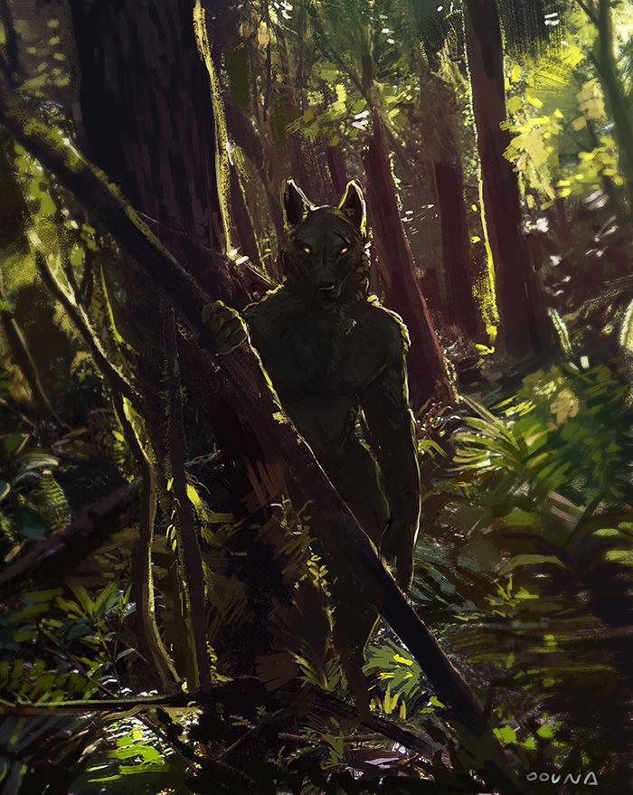 Hunter Фурри, Furry Art, Furry Canine, Furry wolf, Лес, Oouna