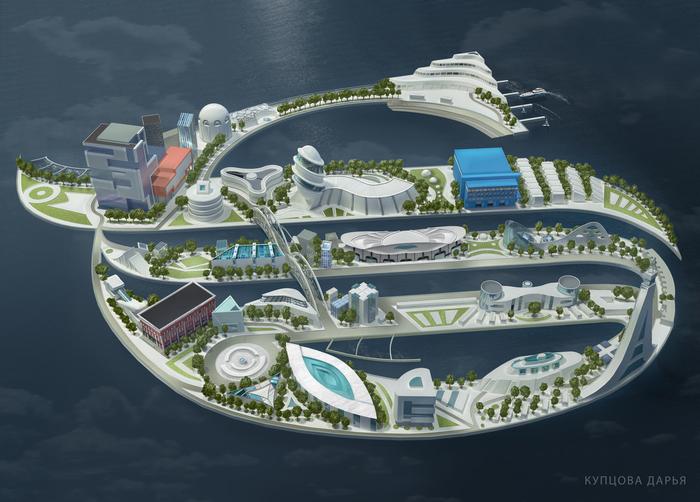Рендер иллюстрации острова >4гб 3D max, 3D, Арт, Иллюстрации, Render, Длиннопост