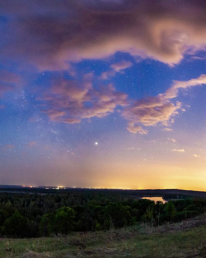 Свет Юпитера перед рассветом. Юпитер, Млечный Путь, Пейзаж, Canon, Башкортостан, Звездное небо