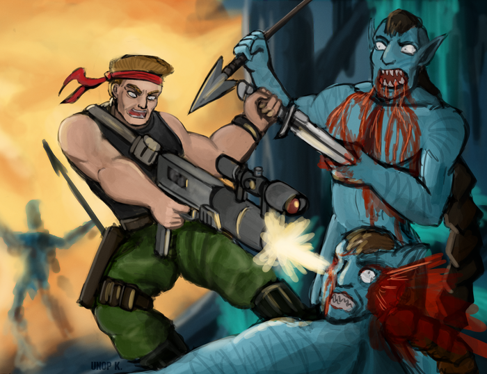 Avatar: Sly Marbo Edition Wh Art, Crossover, Warhammer 40k, Sly Marbo, Catachan, Catachan Jungle Warriors, Navi, Аватар
