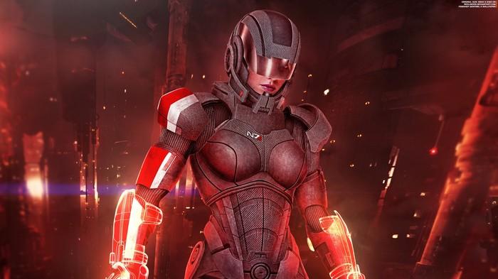 Женщина Шепард Страж II - Mass Effect Mass Effect, Шепард, Страж, Обои на рабочий стол, N7, Броня, Омега, Длиннопост
