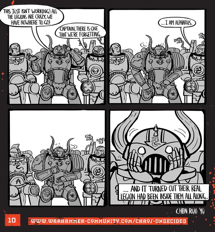 Хаос неопределённый #10 Warhammer 40k, Wh humor, Ruo Yu Chen, Комиксы, Chaos Space marines, Chaos-Undecided, Alpha-Legion