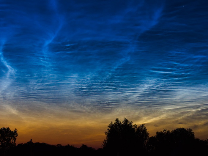 Серебристые облака Ночь, Небо, Серебристые облака, Фотография