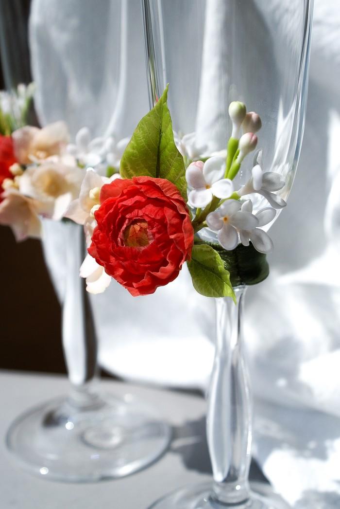 Бокалы с цветами из глины Холодный фарфор, Свадьба, Бокалы, Лепка, Цветы, Длиннопост