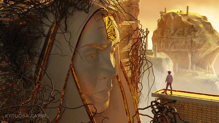 3d art Blender 3D графика, 3D, Арт, Цифровой рисунок, Портрет, Гифка, Длиннопост