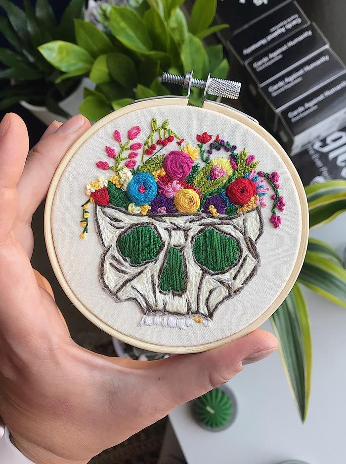 Пятничное моё Вышивка, Рукоделие без процесса, Пятничный тег моё, Череп, Цветы