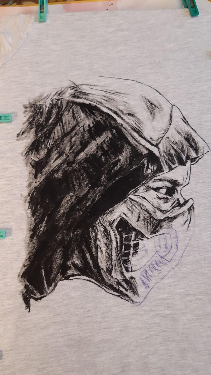 Finish Him!!! Скорпион на футболке для себя любимого))) Роспись по ткани, Творчество, Mortal Kombat, Длиннопост, Скорпион, Арт