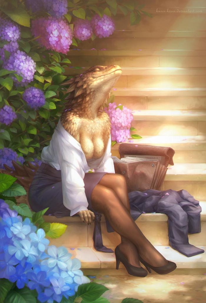 Alone with the sun Фурри, Furry Art, Furry scalie, Поясохвосты, Furry edge, Бизнес леди, Греется на солнышке, Kuroi-Kisin