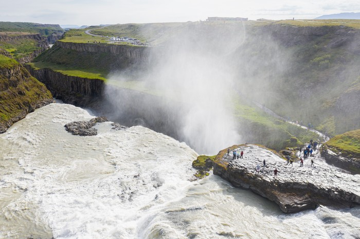 Водопад Гюдльфосс, Исландия Водопад, Исландия, Путешествия, Работа, Природа, Фотография, Дрон, Квадрокоптер
