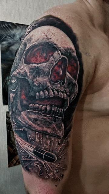 Татуировка череп Тату, Череп, Санкт-Петербург, Гифка