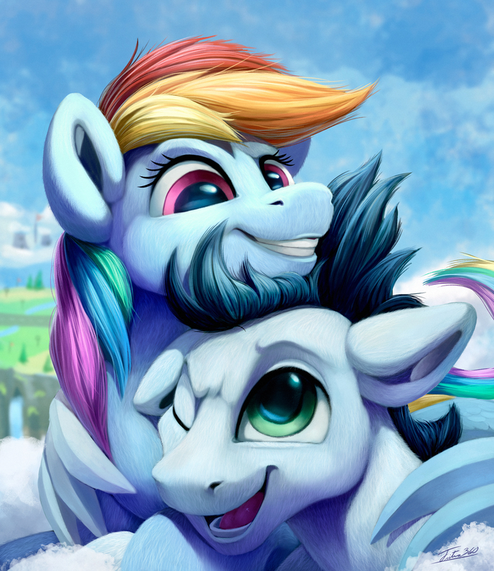 Hugs In The Clouds My Little Pony, Rainbow Dash, Soarin, Шиппинг, Tsitra360