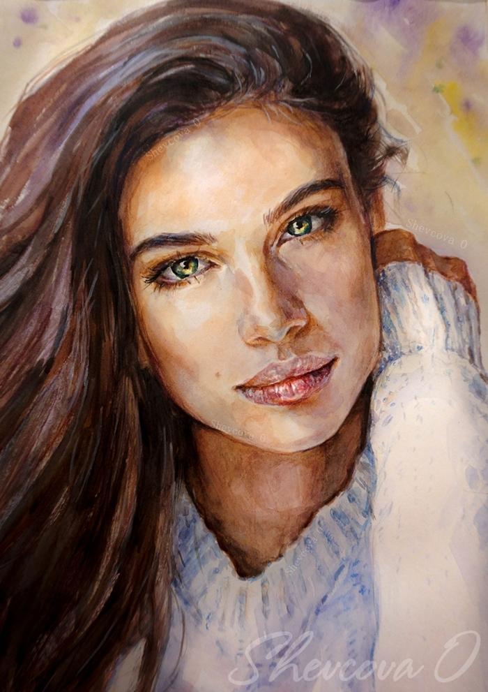 Мои акварельные девочки. Акварель, Портрет, Я художник - я так вижу, Иллюстрации, Краски, Рисунок, Длиннопост, Живопись, Девушки
