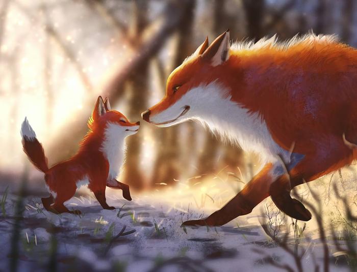 Winter Foxes Арт, Рисунок, Лиса, Зима, Malin Falch
