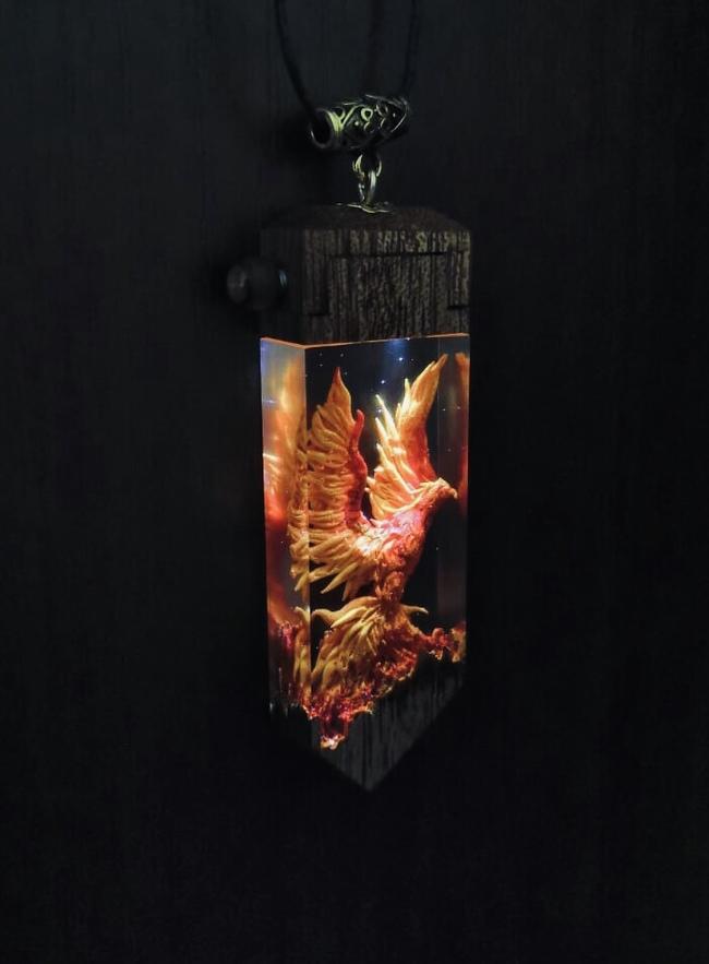 Кулон с фениксом (свет) Ручная работа, Своими руками, Феникс, Рукоделие без процесса, Длиннопост
