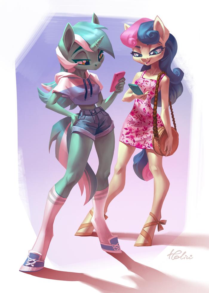 Lyra And Bon Bon My Little Pony, Lyra Heartstrings, Bon Bon, Антро, Holivi