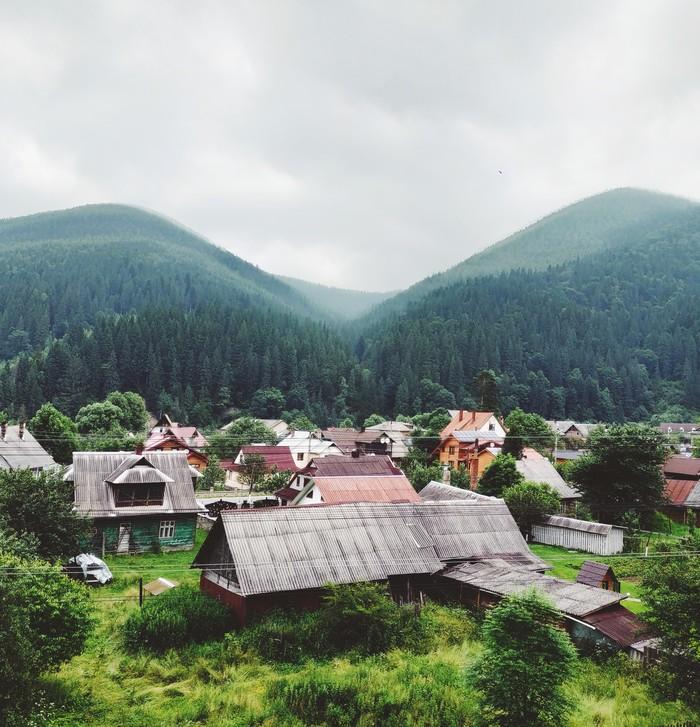 Деревушка в Карпатах Горы, Мобильная фотография, Начинающий фотограф