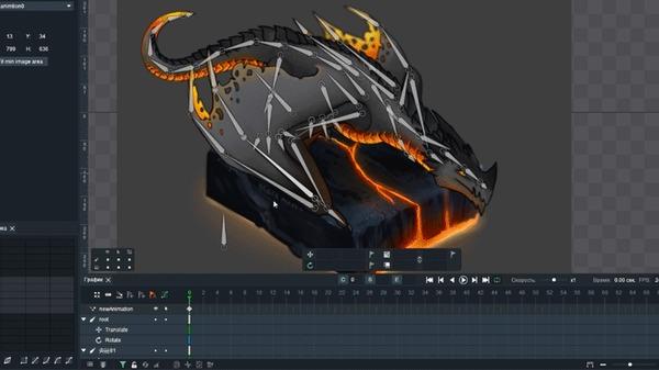 Анимация в DragonBone для художников часть 2 Анимация, Статья, Туториал, Помощь, Обучение, Дракон, Dragonbone, Гифка, Длиннопост