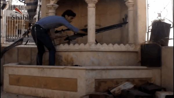 """Бармалей стреляет из """"снайперского ДШК"""". Алеппо- 18.07.13"""