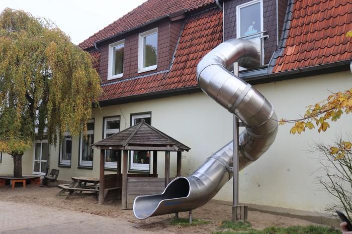 Спуск из школы Школа, Германия, Европа, Дети, Деревня, Интересное