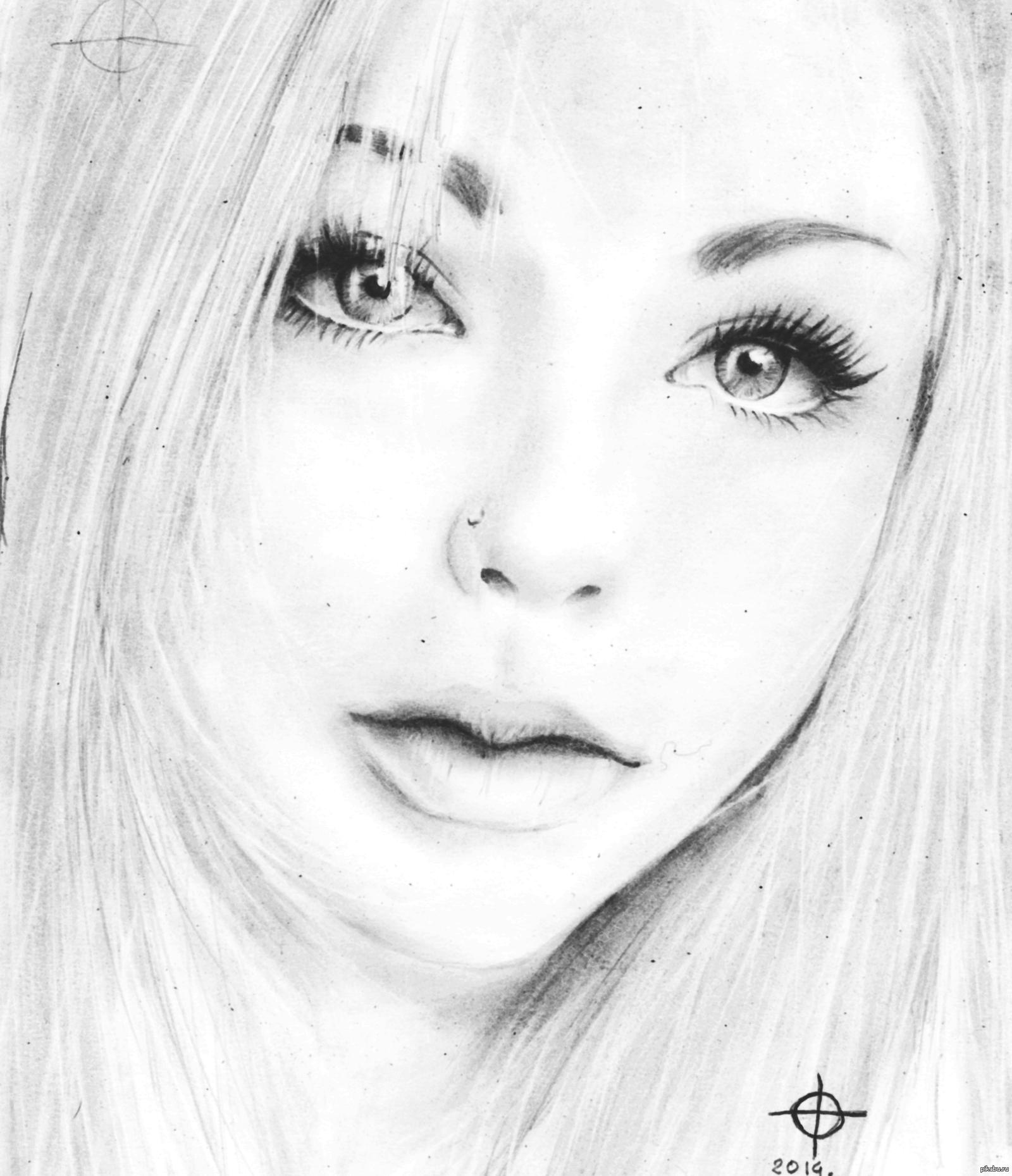 Картинка девушек нарисованная карандашом
