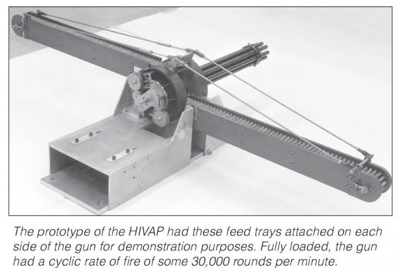 Экспериментальный пулемет TRW HIVAP скорострельность, система, патронов, боеприпасов, именно, калибра, велась, одновременно, стволов, пулемета, патроны, движение, использовать, пулемет, время, Именно, скорострельностью, пушек, инженеры, решили