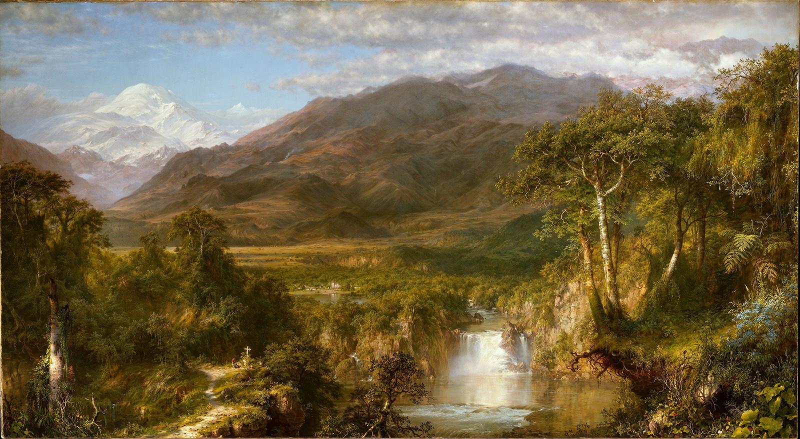 Обои водопад, Пейзаж, картина, Сердце Анд, Фредерик Эдвин Чёрч. Разное foto 7
