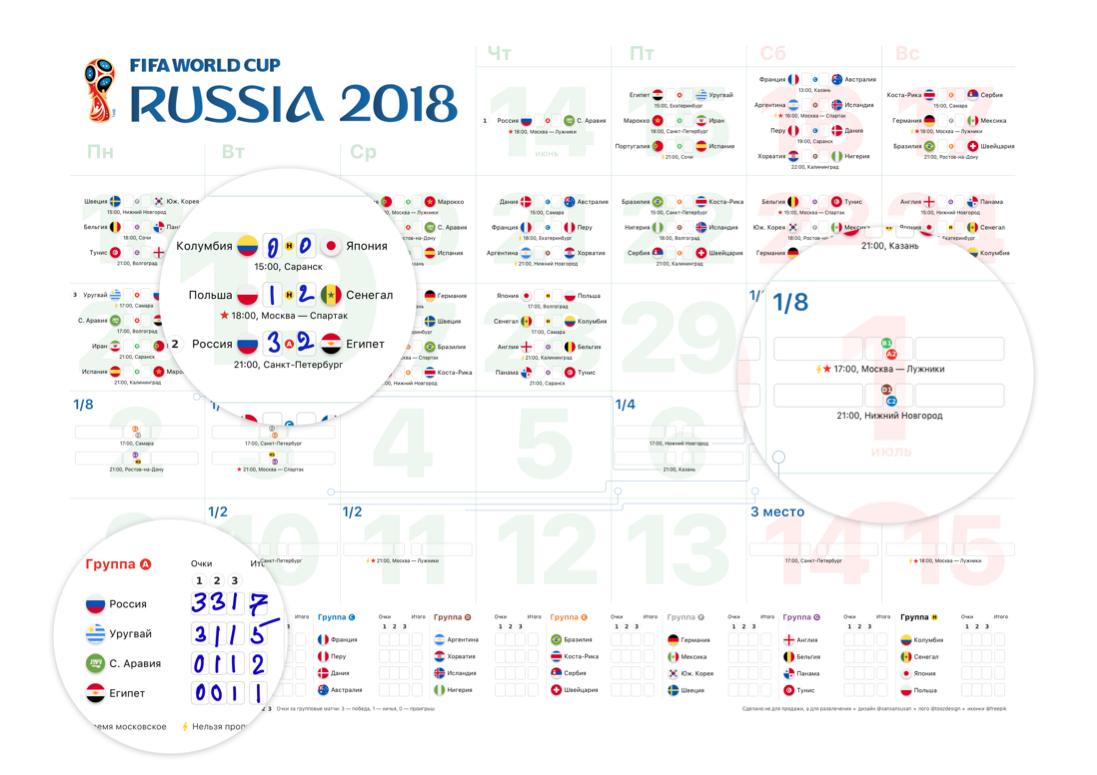 Расписание игр (матчей) на чемпионат мира по футболу 2018
