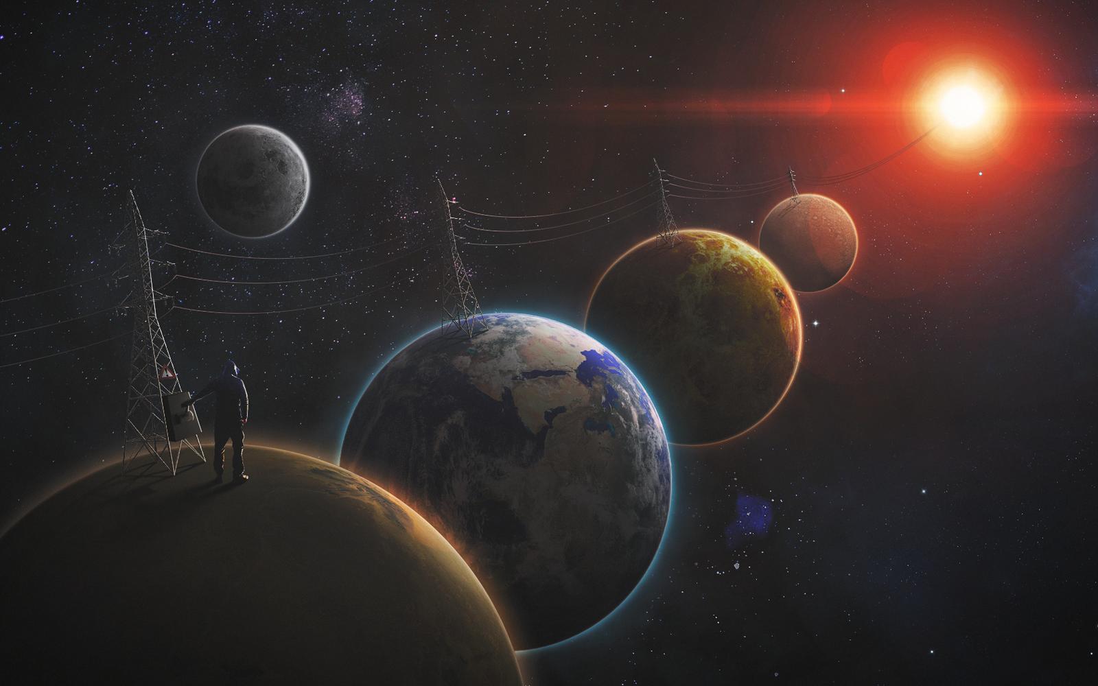 Рисунок космоса и планет красками