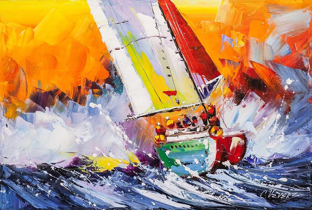 Обои Закат на Сене, Клод Моне, парус, лодка, Пейзаж, картина. Разное foto 19